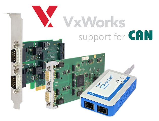 IXXAT PC/CAN interface series adds support for VxWorks